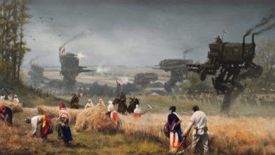 Боевой медведь и робот со штыком в синематике Iron Harvest