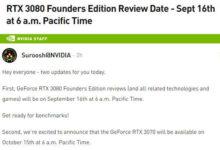 NVIDIA GeForce RTX 3070 выйдет через месяц после RTX 3080