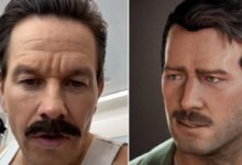 Марк Уолберг предстал с усами — видимо, для образа Салли в экранизации Uncharted