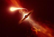 Учёные зафиксировали, как чёрная дыра уничтожила звезду, оставив после неё космическую лапшу